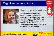 EDIT: Amelka z mamą zostały odnalezione  CHILD ALERT: Policjanci poszukują 3-letniej Amelki i jej matki Natalii